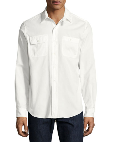 Basketweave Cotton Shirt, White