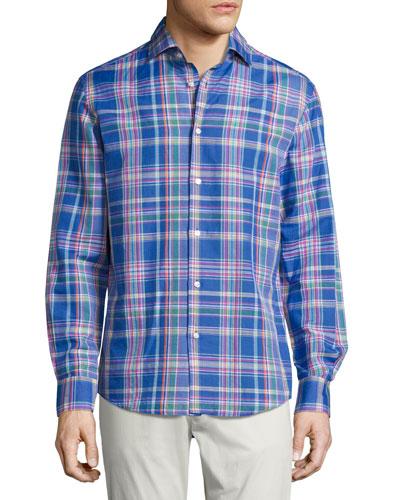 Plaid Woven Shirt, Bright Blue