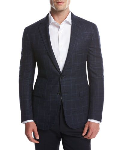 Glen Plaid Two-Button Sport Coat, Navy/Bright Blue