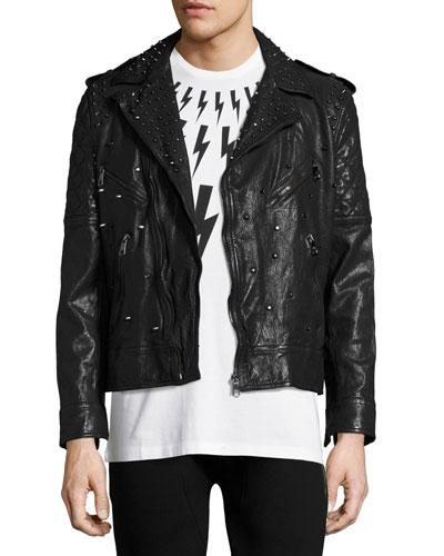 Studded Leather Biker Jacket, Black