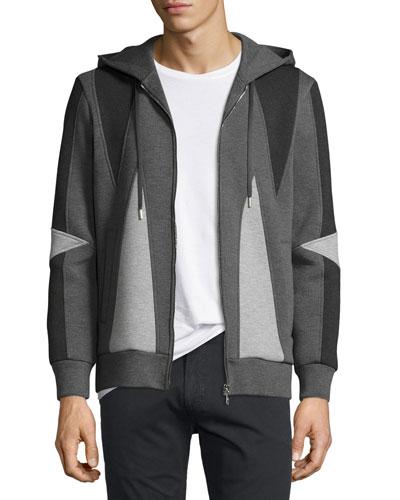 Paneled Zip-Front Hoodie, Black/Gray