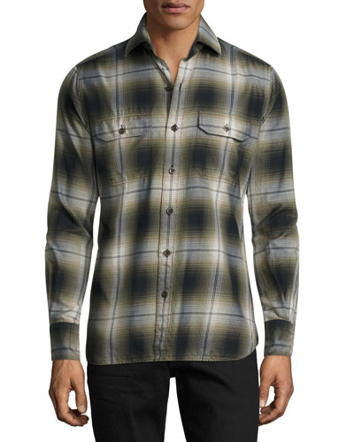 Plaid Flannel Military Shirt, Green