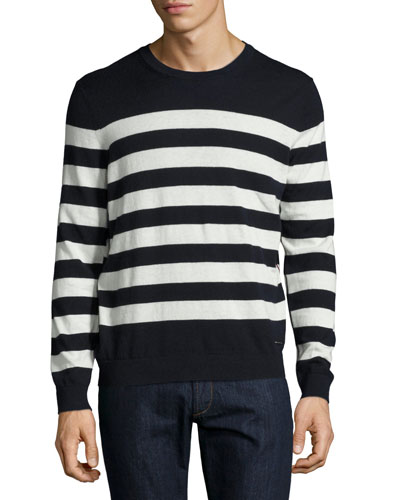 Seaborne Striped Cashmere-Cotton Sweater, Navy