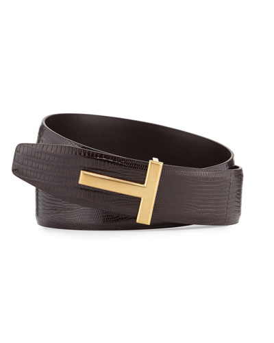 Lizard T-Buckle Belt, Brown