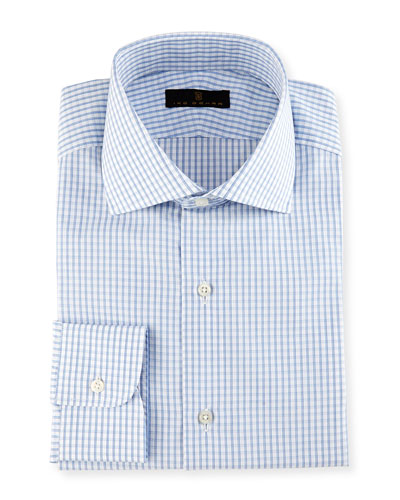 Gold Label Windowpane Check Dress Shirt, White/Blue