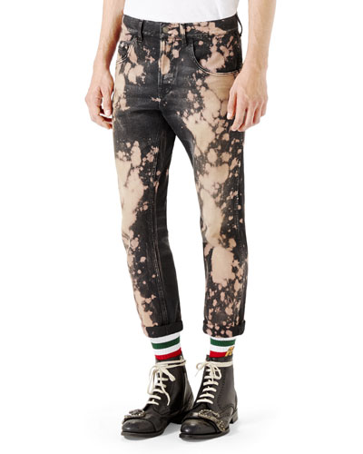 Bleached Denim Tapered Pants, Black