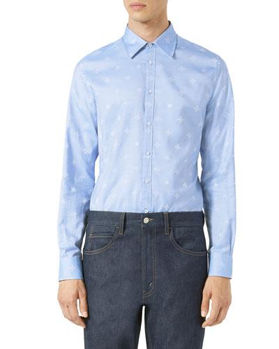 Bee Jacquard Oxford Duke Shirt, Light Blue