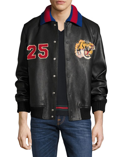 Leather Bomber Jacket w/Embroideries, Black