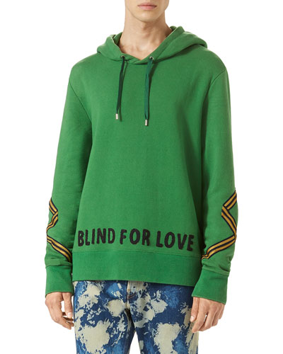 Cotton Hoodie Sweatshirt w/Appliqué, Green