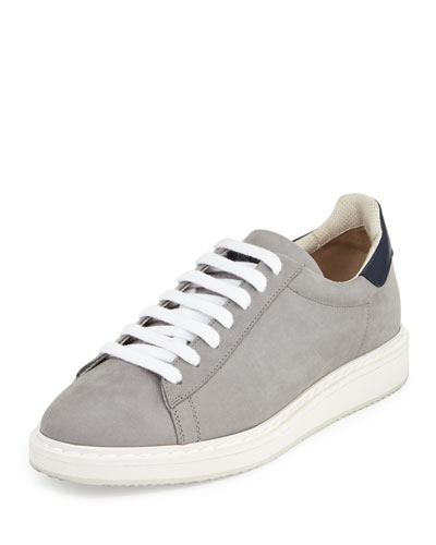 Icarus Suede & Leather Low-Top Sneaker, Gray