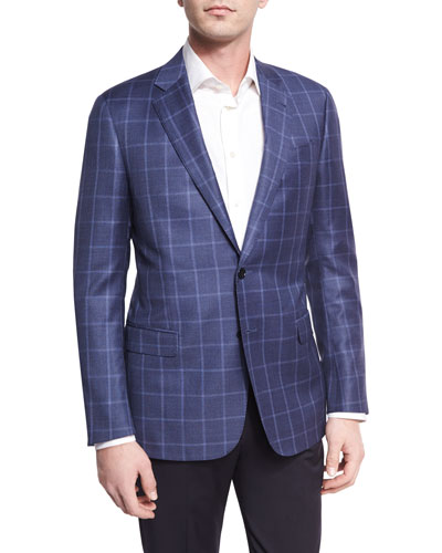 Tonal Windowpane Virgin Wool Two-Button Sport Coat, Light Blue