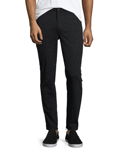 Melange Moto Slim-Straight Pants, Black