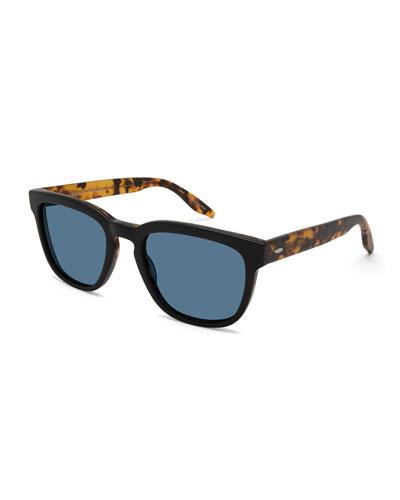 Men's Coltrane Square Acetate Sunglasses, Black/Tortoiseshell