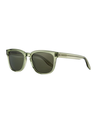 Men's Coltrane Square Acetate Polarized Sunglasses, Green