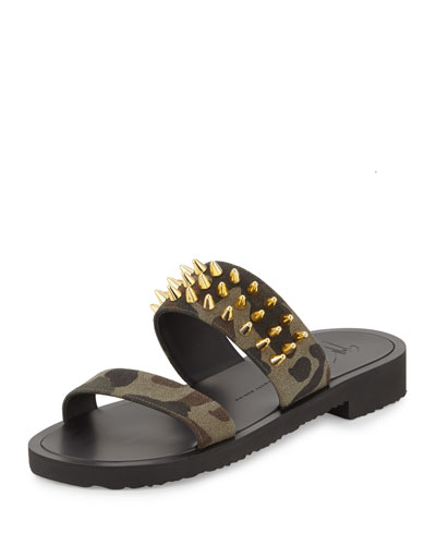 Men's Studded Camo Canvas Strap Sandal