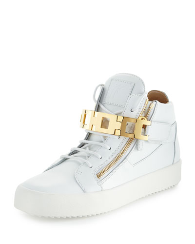 Men's Leather Mid-Top Sneaker w/Link-Bracelet Strap, White