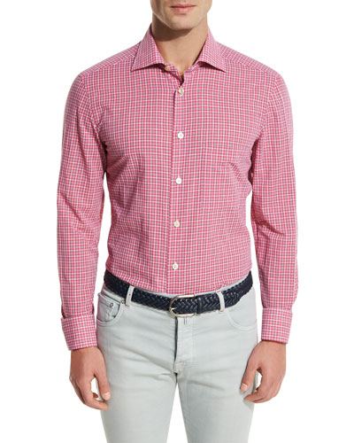Check Pocket Sport Shirt, Raspberry