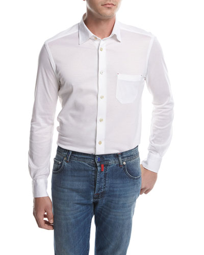Piqué Knit Oxford Shirt, White