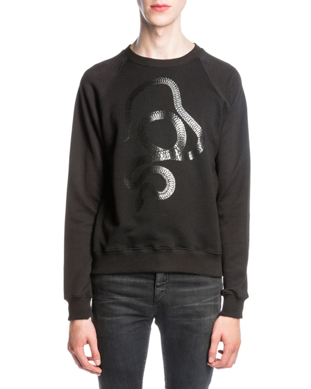 Metallic Snake-Print Sweatshirt, Black