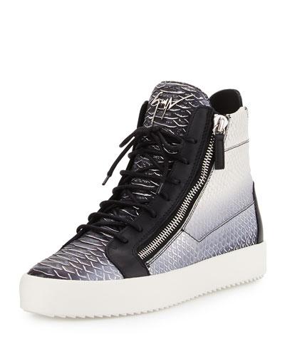 Men's Metallic Snake-Print High-Top Sneaker, Gray
