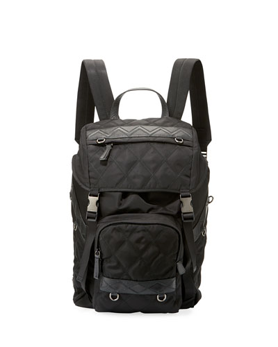 Patterned Nylon & Leather Utility Backpack