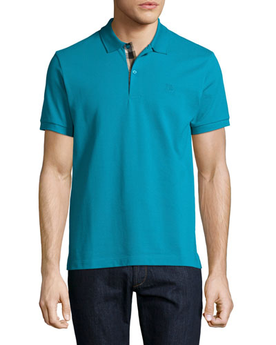 Short-Sleeve Pique Polo Shirt, Turquoise