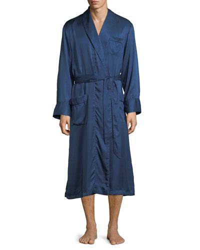 Woburn 8 Bengal-Stripe Silk Robe