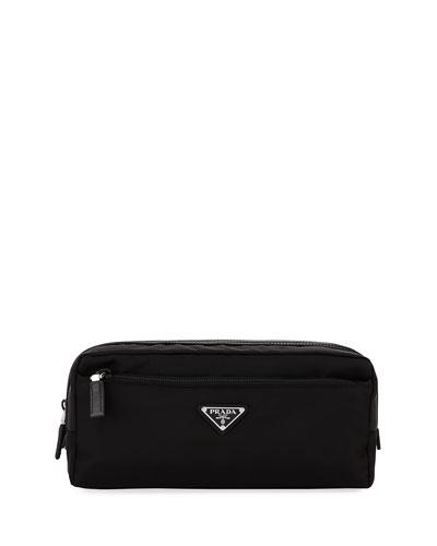 Nylon Double-Zip Toiletry Bag, Black