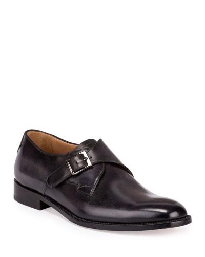 Classic Roccia Monk-Strap Shoe, Black