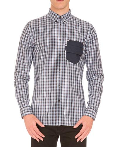 Plaid Sport Shirt w/Logo Pocket, Navy