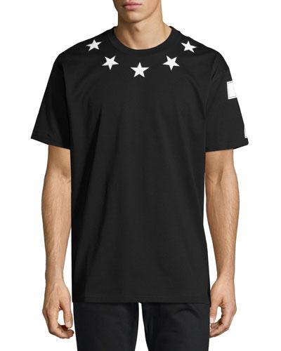 Columbian-Fit Star-Appliqué T-Shirt, Black