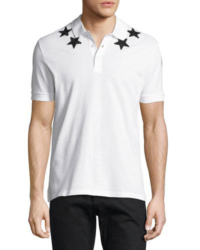 Givenchy Cuban-Fit Star-Appliqué Polo Shirt, White/Black