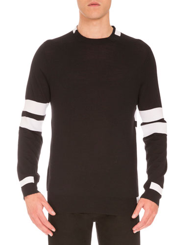 Striped Wool Sweater, Black