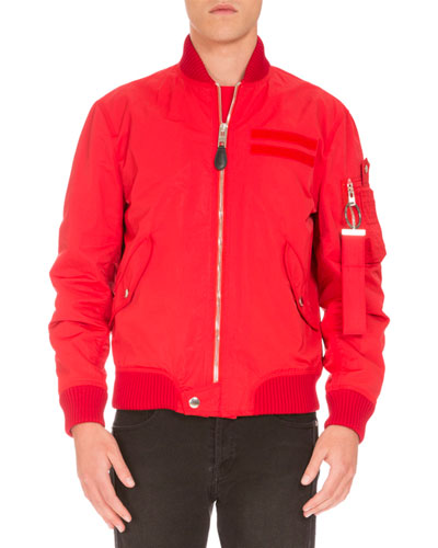 Nylon Bomber Jacket, Red
