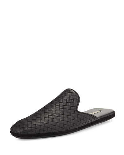 Leather Intrecciato Slip-On Shoe, Black