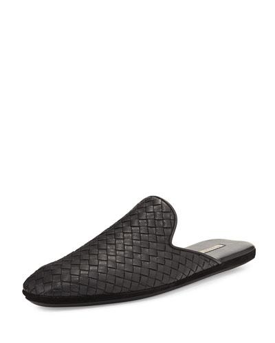 Leather Intrecciato Slip-On Shoe, Black