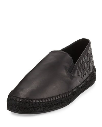 Men's Leather Intrecciato Espadrille Flat, Black