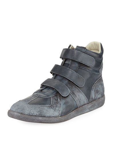Triple-Strap Burnished Leather & Suede High-Top Sneaker