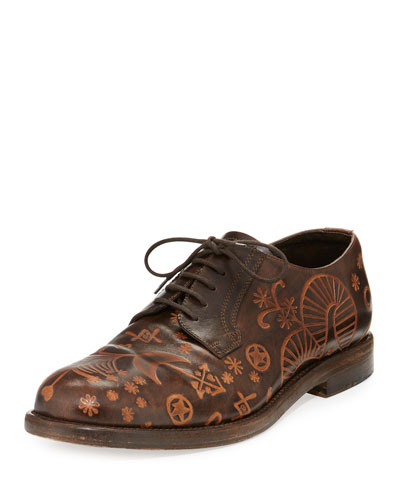Santeria Etched Lace-Up Shoe, Brown