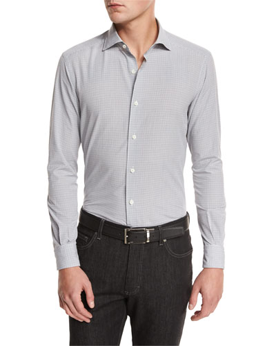Gingham Woven Sport Shirt, Medium Gray Check