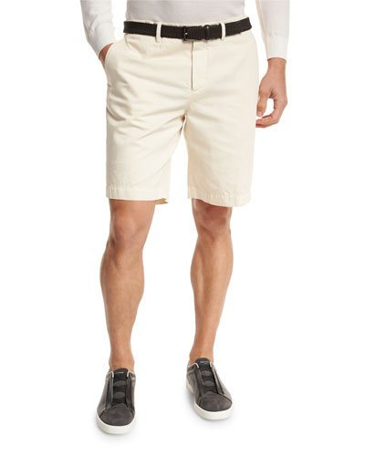 Cotton-Linen Chino Shorts, Light Beige