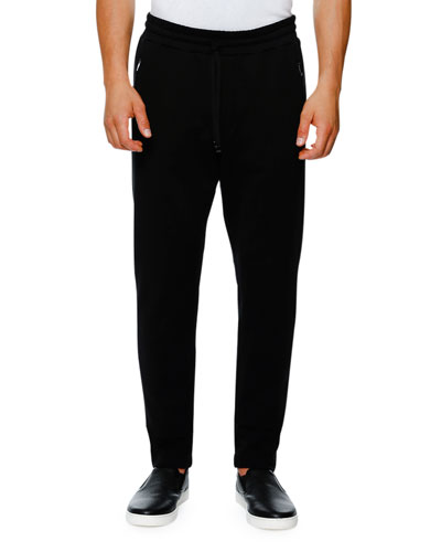 Zip-Pocket Drawstring Jogger Pants, Black