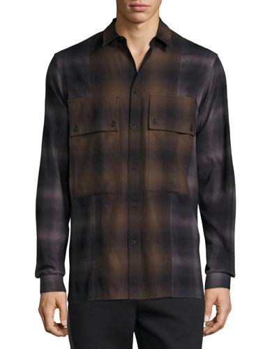 Gradient Plaid Large-Pocket Shirt, Brown