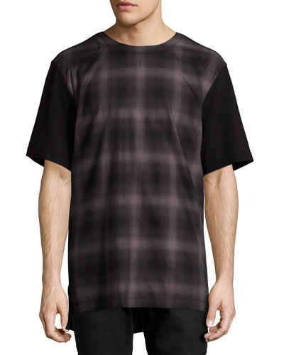 Gradient-Plaid T-Shirt, Brown