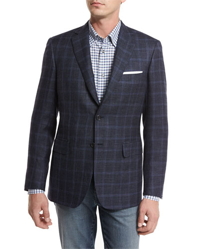 Heathered Windowpane Check Two-Button Sport Coat, Navy