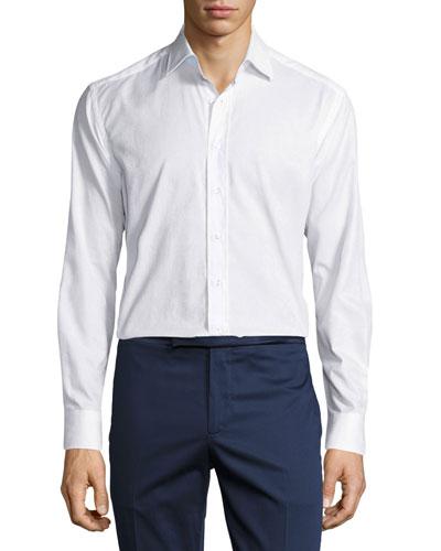 Tonal Paisley Jacquard Button-Front Shirt
