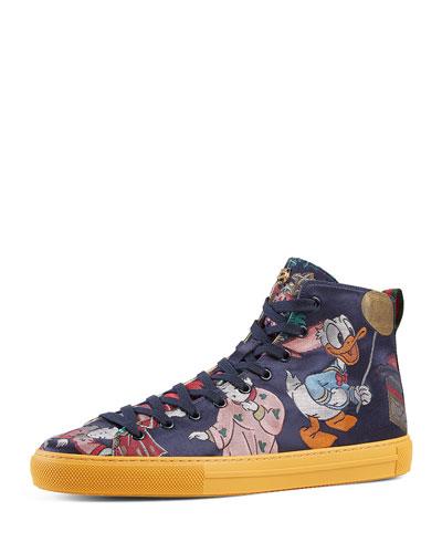 Donald Duck Men's Jacquard High-Top Sneaker, Multicolor