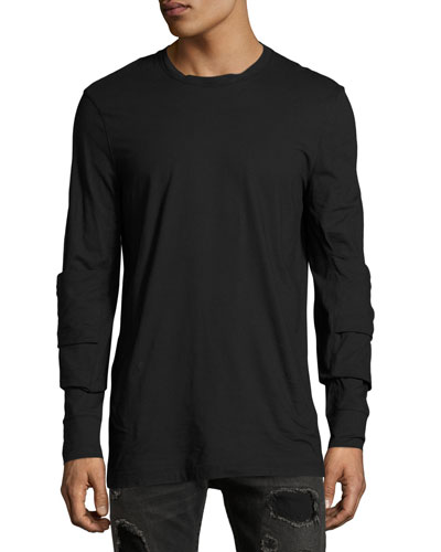 Elbow-Patch Long-Sleeve T-Shirt, Black