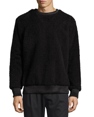 Faux-Sherpa Crew Neck Sweater w/Leather Trim