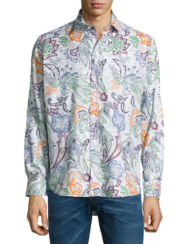 Large Paisley Printed Sport Shirt, Multicolor